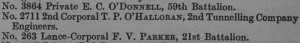 The announcement of Corporal O'Hallohran's Military Medal in the October 1919 edition of the Commonwealth of Australia Gazette.