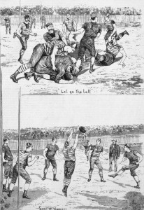Wood engraving published in 'Australian pictorial weekly' of an early football match.