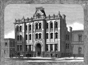 Wood engraving from 1882 of the Purchas' designed barristers' chambers on Little Collins street and Bourke-street west.