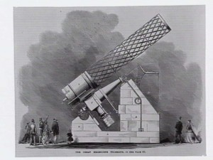 Wood engraving from 1868 of The great Melbourne telescope.
