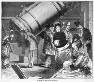 A wood engraving published in 'The Australasian sketcher' of people' visiting the Great Melbourne telescope.