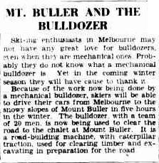 The Argus article from 1939 on the road construction at Mt Buller.