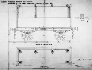 A drawing showing Purchas' 1861 patent  for lighting a railway carriage with gas.