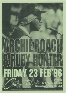 Poster advertising the performance of Archie Roach & Ruby Hunter at the Continental in 1996.