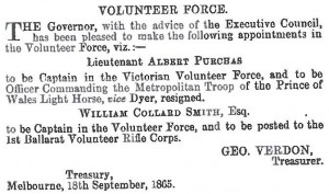 Notice advising of Purchas' appointment to Captain of the Victorian Volunteer Force