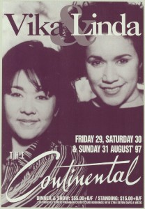 Poster advertising Vika & Linda Bull performing at The Continental in 1997.