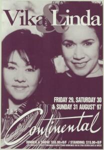 Poster advertising Vika & Linda Bull performing at The Continental in 1997.