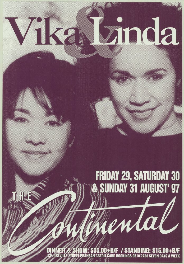 Performance poster of Vika & Linda Bull. Performance dates printed on poster: Friday 28, Saturday 30 & Sunday 31 August '97.