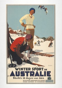 A poster from the early 1930s advertising Australia as skiing destination.