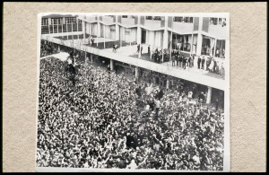 Beatles greeting crowds at the Southern Cross Hotel, Rennie Ellis