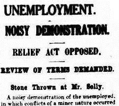 An article from The Argus, January 1931, on an unemployment demonstration