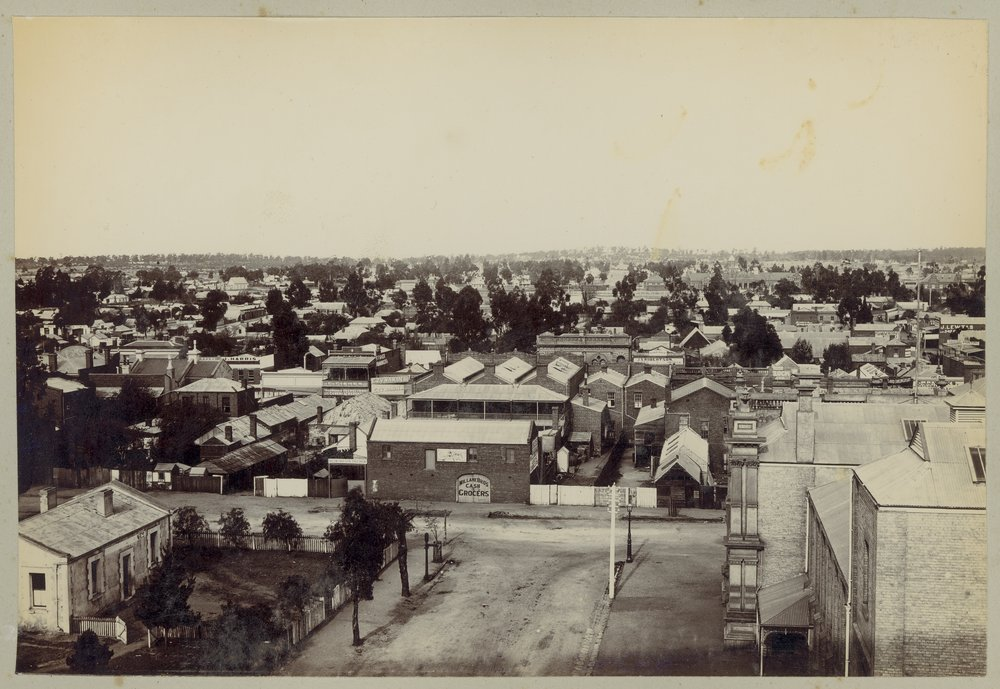 Elevated views looking over the rooftops of Maryborough