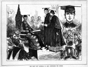 A wood engraving showing Bella graduating from the University of Melbourne in 1883.