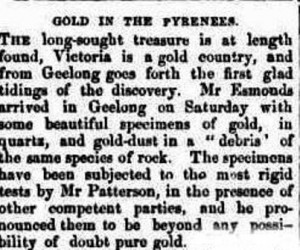 Newspaper article about the first reported discovery of payable gold in Victoria.