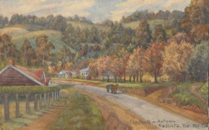 A 1935 watercolour featuring chestnut trees in Kallista, Victoria.