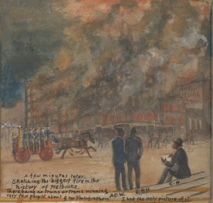 Charlie Hammond draws himself sketching a Melbourne fire in 1897.