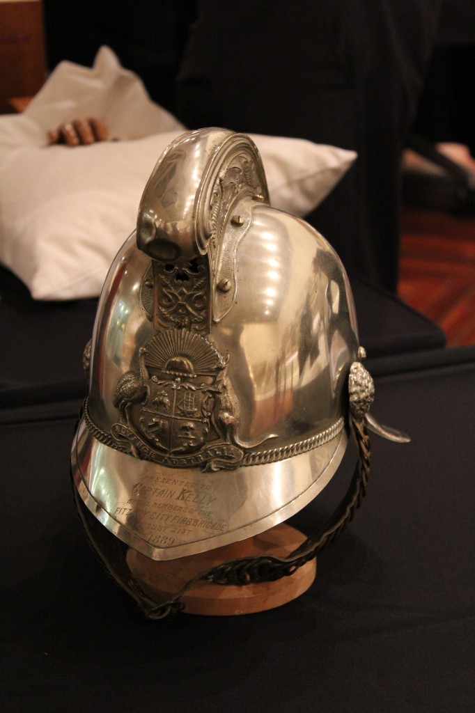 Fireman's helmet presented to Captain Kelly 1889