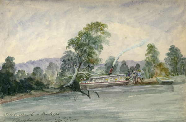 A watercolour and pencil on paper by D. R. Long, showing a steam driven pleasure craft seemingly run aground.