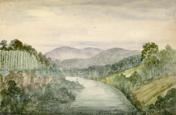 A watercolour and pencil on paper by D. R. Long, showing a river winding left through fenced fields.