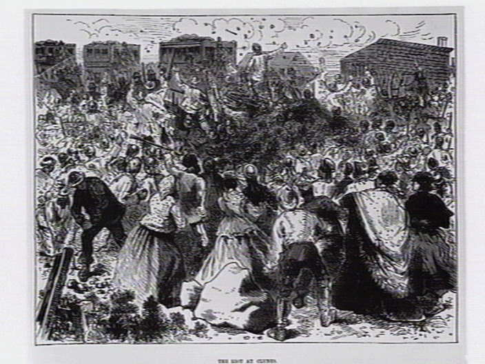 A wood engraving showing from 1873, showing the riot at Clunes.