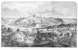 Black and white print of a wood engraving showing township of Clunes and businesses
