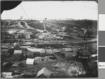 Black and white photograph of a bird's eye view of the township of Clunes around 1861.