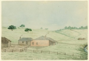 Watercolour of single story building with adjacent yard and farm buildings.