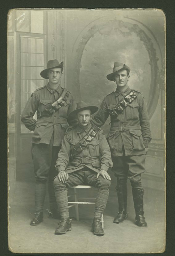 Three Australian soldiers, World War 1