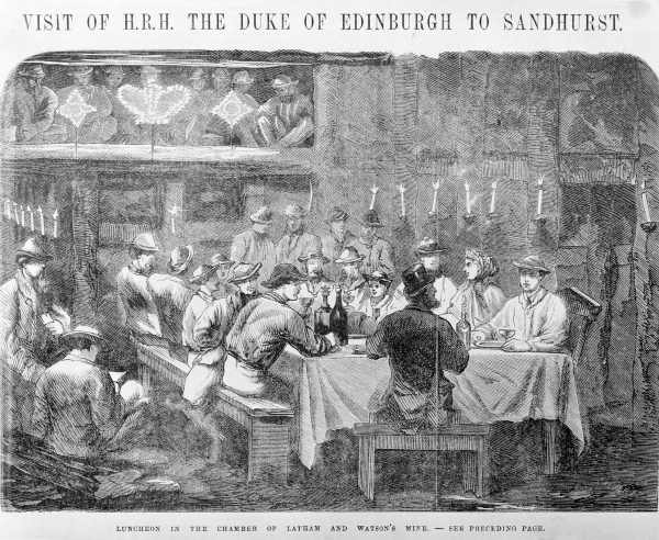 Wood engraving from 1868 showing a luncheon in Latham and Watson's Mine, Bendigo.