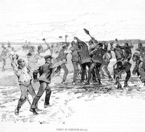 An 1857 wood engraving showing convicts fighting with spades.
