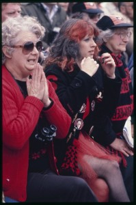 Anxious Essendon fans watch the 1984 Grand final against Hawthorn
