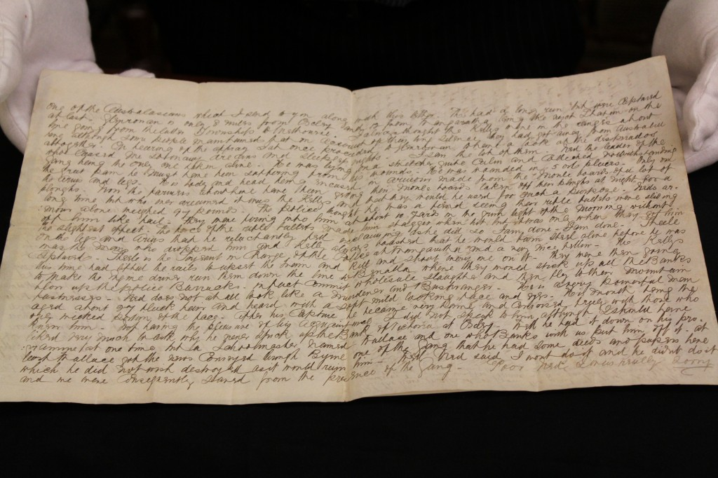 Eyewitness letter to Ned Kelly's capture donated to State Library after 133 years