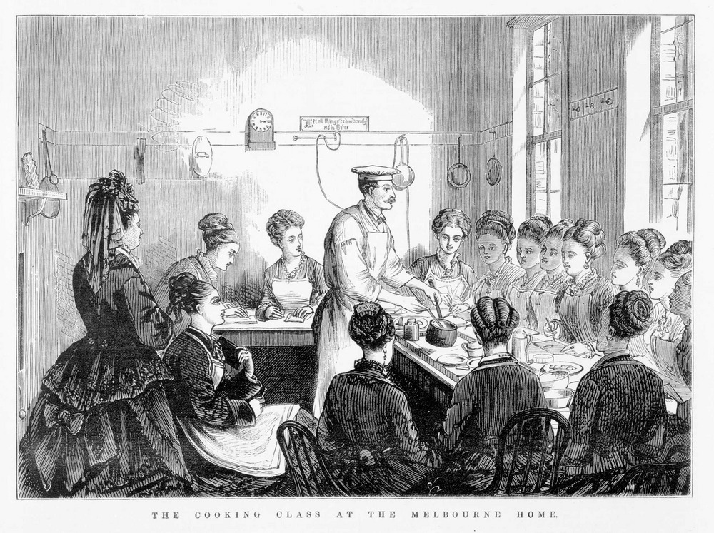 An 1875 wood engraving showing a class of young women in the kitchen of the Melbourne home.