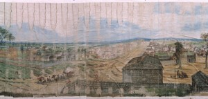 Oil on cotton colour painting based on Samuel Jackson's Panoramic Sketch of Port Phillip dated 30 July, 1841 and includes the overlay of development in Port Phillip in 1892.
