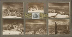 Photographs of sections of the Jerusalem Cyclorama painted by Paul Philippoteaux, depicting scenes from the Crucifixion of Christ and images of Jerusalem and surrounding country as it might have appeared at the time. Also a print of the Melbourne Cyclorama Company building pasted in centre of backing between the images.
