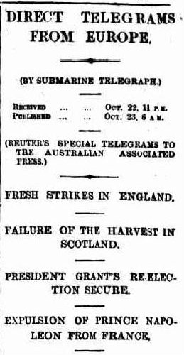 News from Europe arrives in 1872.