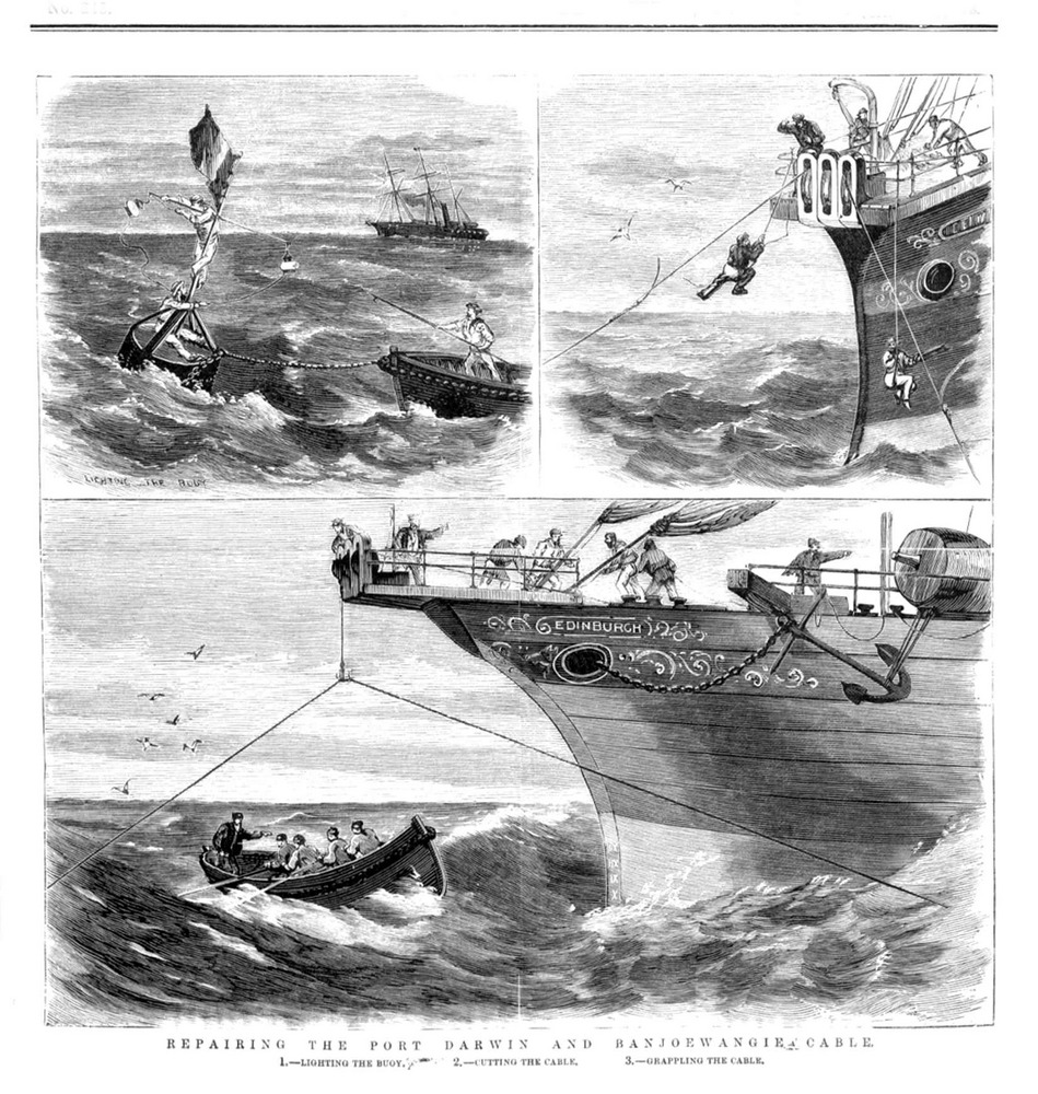 An 1876 engraving shows the submarine telegraph cable during repair in rough seas.