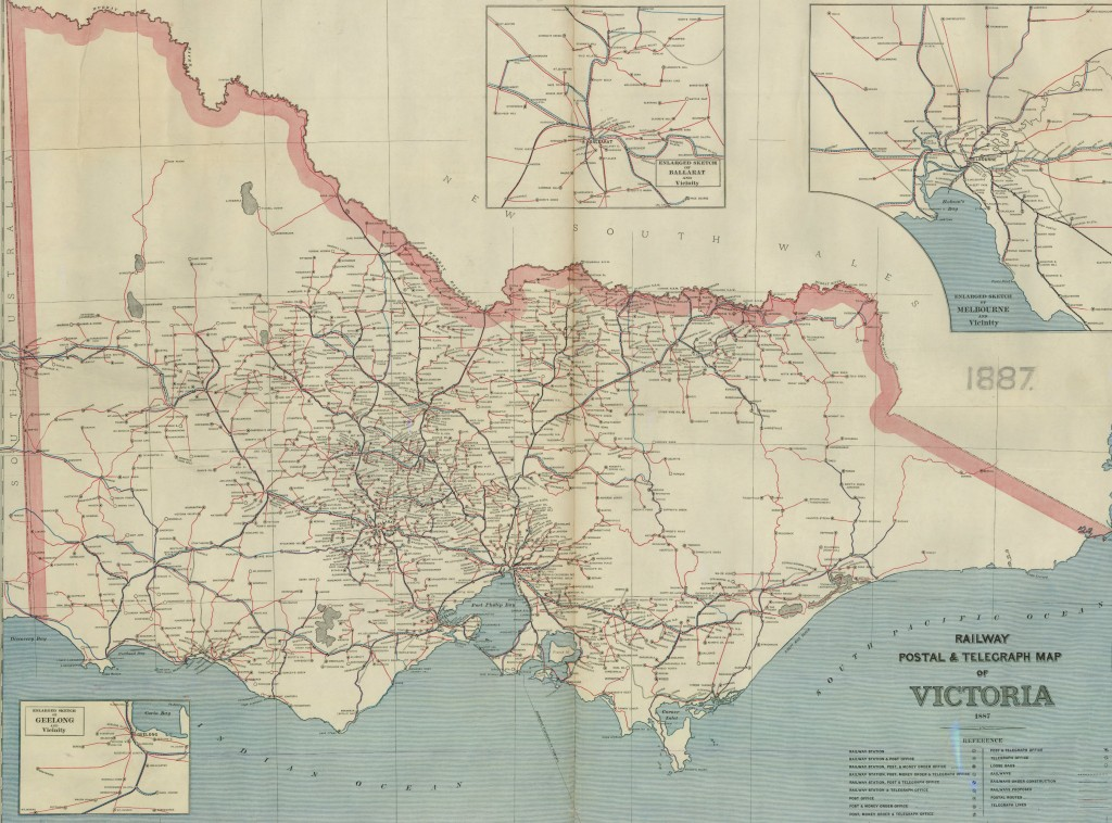 Map of Victoria showing railway system, post offices, telegraph offices and lines.