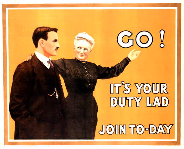 A poster from 1915 encouraging men to join the army
