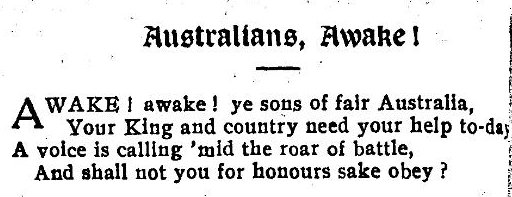 A stanza from the poem Australians awake!