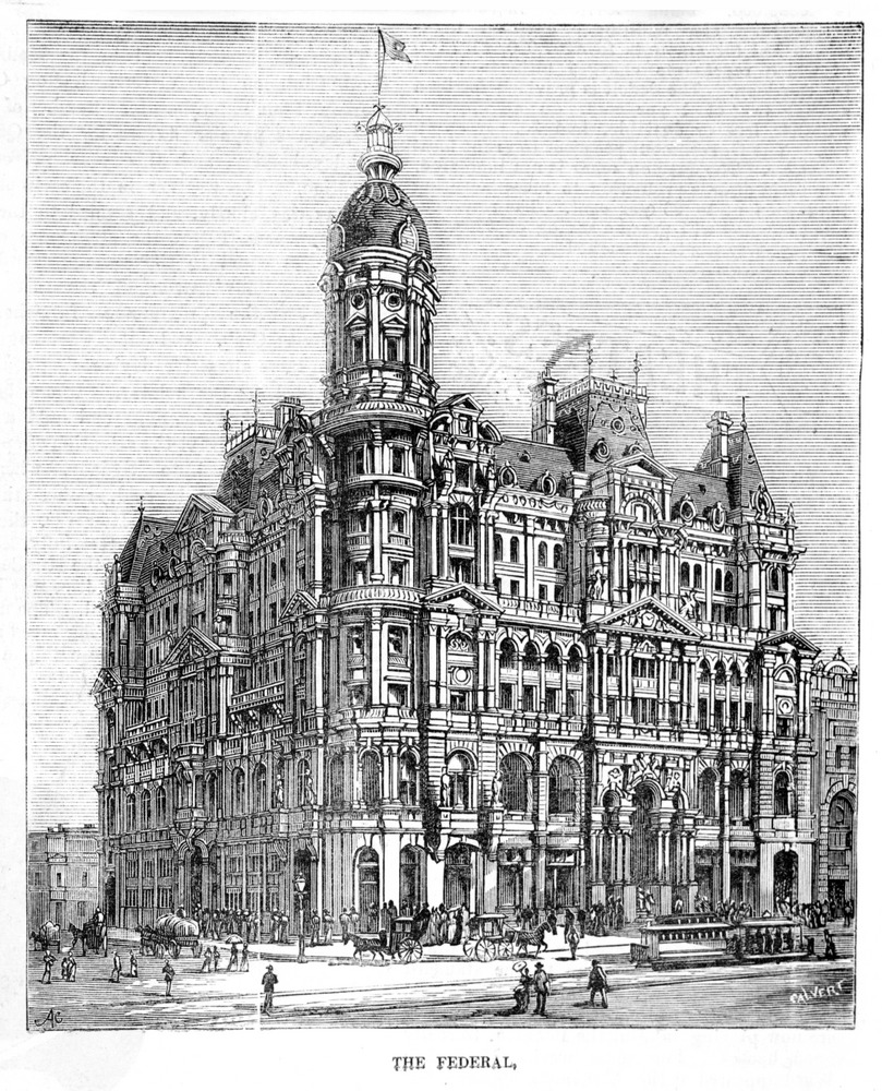 Wood engraving from 1888 of the Federal Coffee Palce, Melbourne