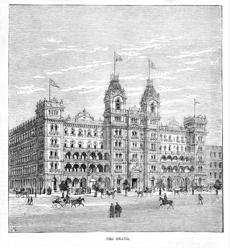 Wood engraving from 1888 showing The Grand coffee palace.