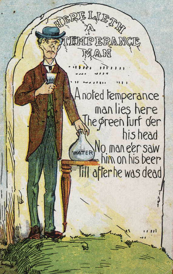 A 1906 postcard showing the headstone of a temperance man.