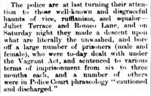 Short newspaper article about vice and vagrancy in Juliet Terrace and Romeo Lane.