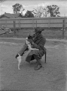 Australian soldier with a dog by Charles Edward Boyles