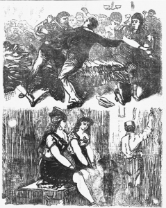 Black and white facsimile of a wood engraving showing a woman, named Mrs. Follett, attempting to stab her husband Lewis Follett; two girls waiting backstage for their cue to go on stage.