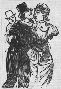 Black and white facsimile of a wood engraving showing the lady, Kyneton Jane, who had exposed the contents of her purse when shouting a drink for Flash Harry, who then robbed her.