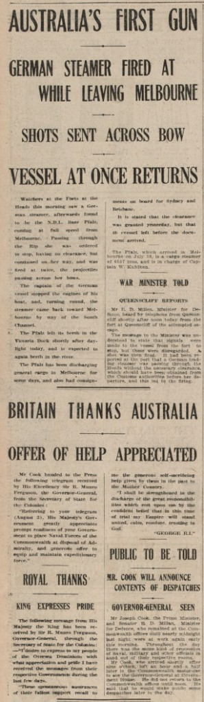 Newspaper article proclaiming the first shot in World War 1