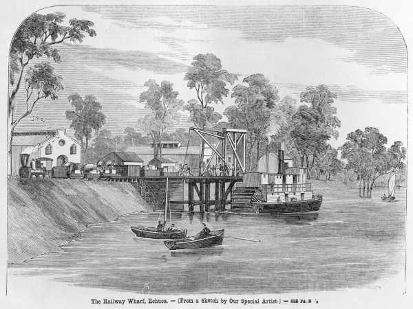 1864 wood engraving of the railway wharf.