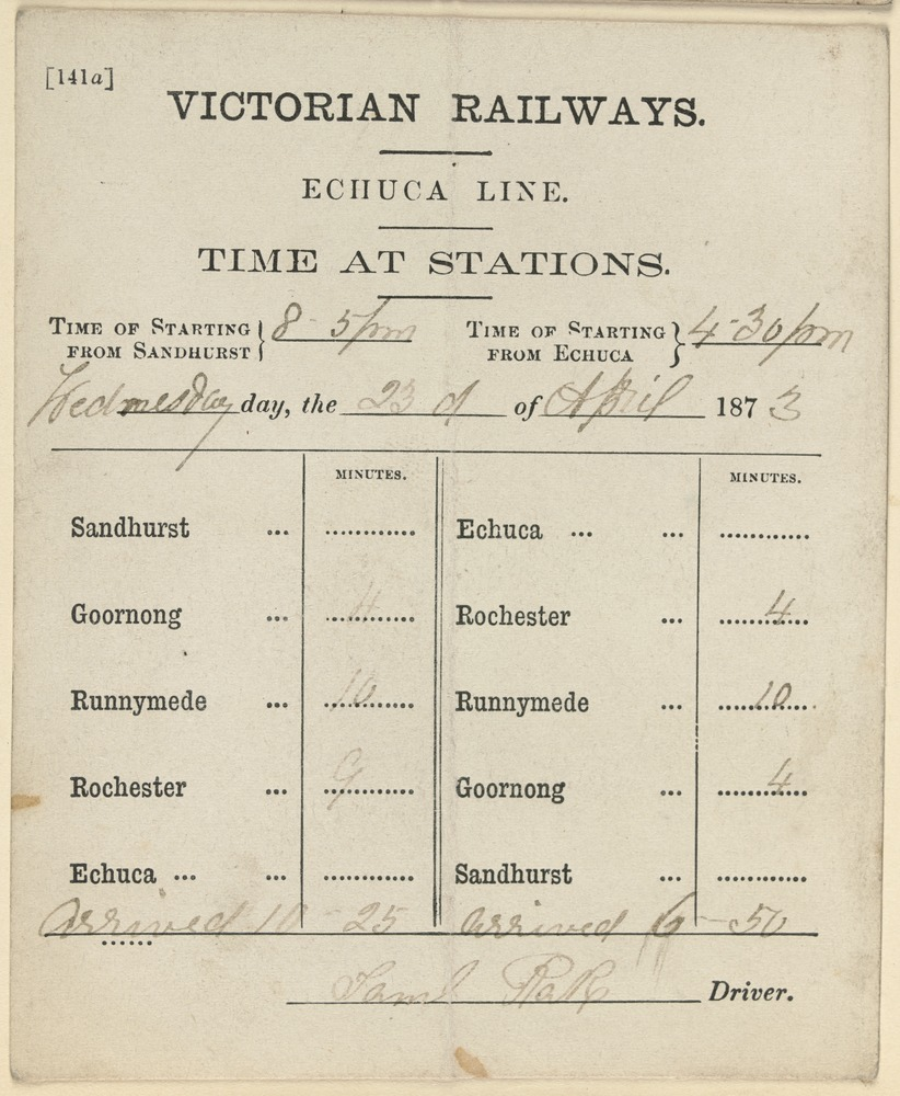 Timetable from 1873 showing the train route to Echuca.